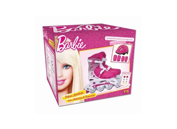 Patins Infantil Barbie Kit Segurança 34 A 37 Fun 7789-9