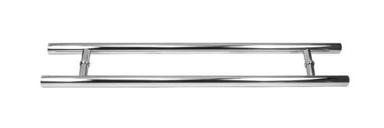 Puxador Duplo Inox Retangular 80cm Ø25mm Porta Madeira Vidro JMS-718