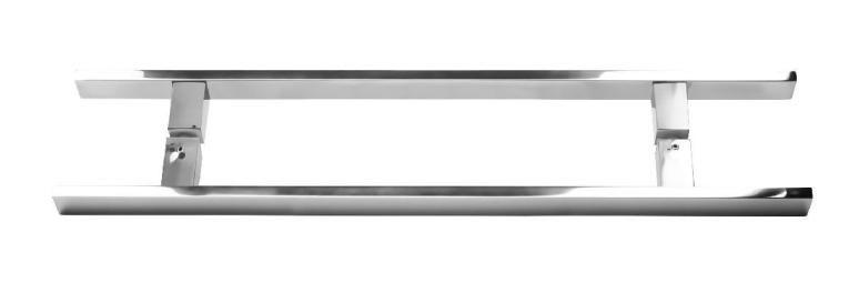 Puxador Duplo Inox Escovado 60cm Ø40mm Porta Madeira Vidro JMS-718