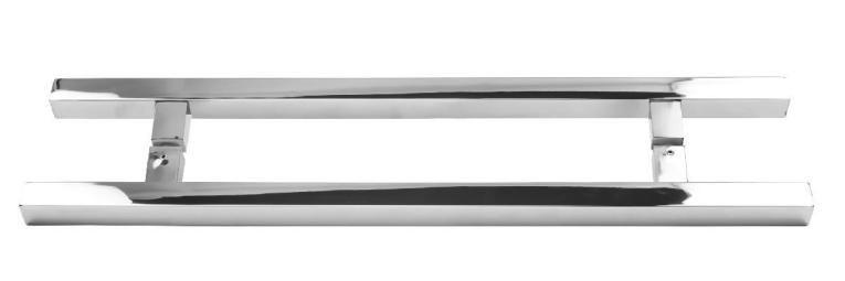Puxador Duplo Inox Quadradado 80cm Ø25mm Porta Madeira Vidro JMS-748
