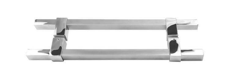 Puxador Duplo Inox Quadrado 80cm Ø25mm Porta Madeira Vidro JMS -789