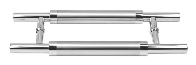 "Puxador Duplo Inox Escovado 45cm Ø25mm Porta Madeira Vidro JMS -788"""