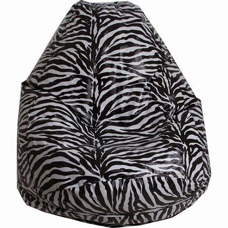Puff Pufe Puf Pera 60cm Diâmetro Courino Quarto Sala Animal Print Zebra
