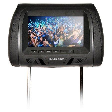 "Encosto Cabeça DVD Tela LCD 7"" Escravo Banco de Carro Au322- Multilaser"