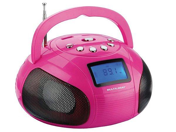 Mini Rádio Boombox Usb FM SD 10w Rosa Sp146 - Multilaser