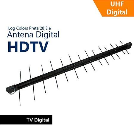 Antena 17Db Log Periódica Uhf Digital 28 Elementos Preta - Capte