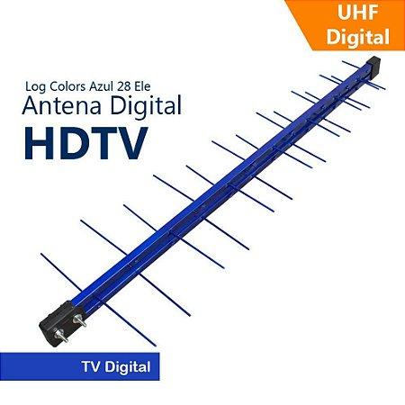 Antena 17Db Log Periódica Uhf Digital 28 Elementos Azul - Capte