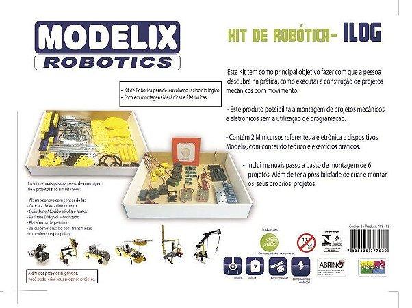 Kit de Robótica F3 ILOG 488 Brinquedo Educativo - Modelix
