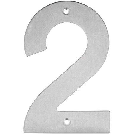 Placa de Sinalização Número Residencial 2 Inox 14,5cm - Bem Fixa