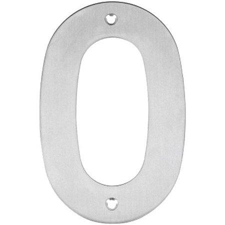 Placa de Sinalização Número Residencial 0 Inox 14,5cm - Bem Fixa
