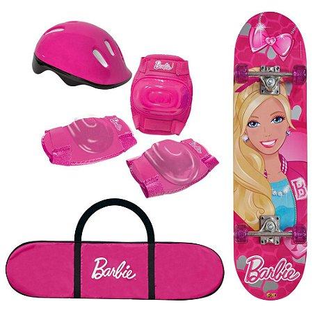 Skate Barbie Infantil Feminino com Kit Segurança - 7619-1