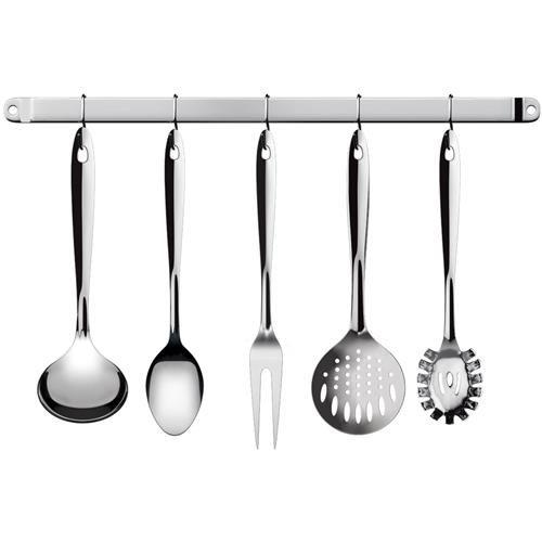 Conjunto Utensílios Cozinha Inox com Barra 6 Pçs In2704 Euro Home