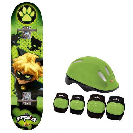 Skate Cat Noir Com Acessórios De Segurança 8240-6 Fun