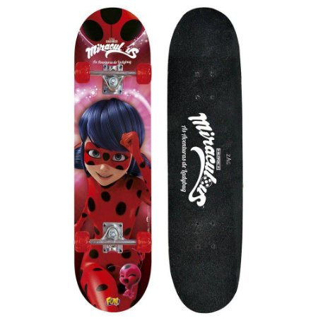 Skate Lady Bug Miraculous Acessórios Segurança 8108-3 Fun