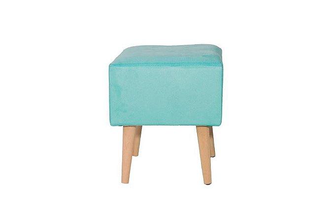 Puff Pufes Puf Retrô Suede Quadrado Azul Tiffany Pé Palito