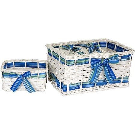 Jogo De Cestas 4 peças Retangular Madeira Branco/Azul  Enjoy