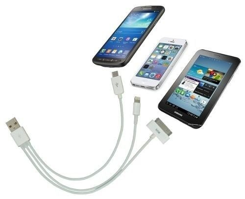 Cabo Usb 3 Em 1 Moto G Iphone 5c 5s Ipad Galaxy Tab S3 S4 S5