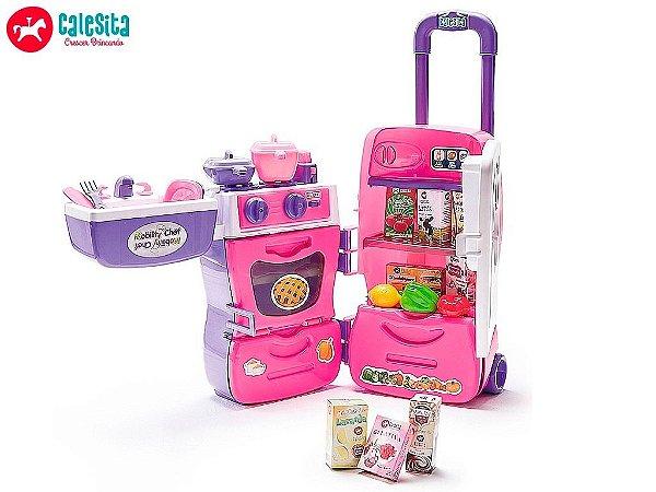Cozinha Infantil Brincar de Comer Casa Boneca Mobility Chef - Calesita