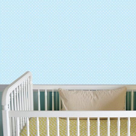 Papel de Parede Adesivo Poá Azul-Bebê