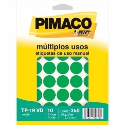 Etiqueta Adesiva Identificação Verde Tp19 Pimaco 350 Unidades - Verde