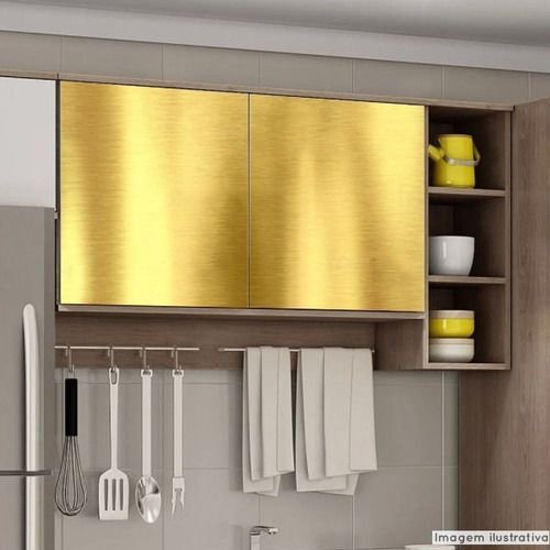 Papel de Parede Adesivo Aço Escovado Ouro