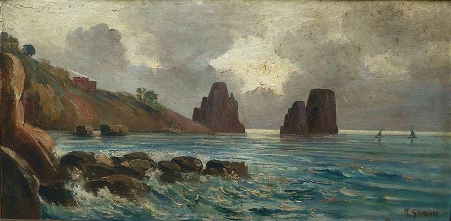 Paisagem Marinha - Dario Mecatti (N. Giordano) (ITA) - Óleo s/Tela - 044x088cm.