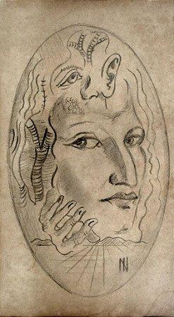 O Visionário - Ismael Nery (PA) - DGSP - 24,5 x 14 cm. - CM - Ass.CID - (Com Certificado de Autenticidade)