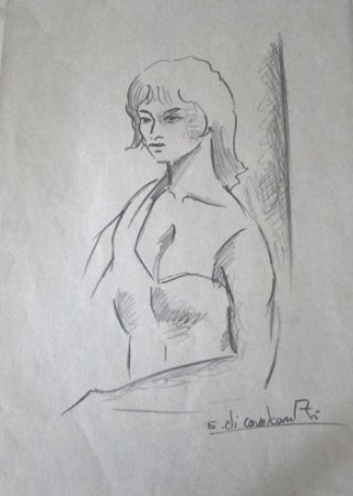 Figura de Mulher - Di Cavalcanti (RJ) - DGSP - 29,5x21 cm. - CMV - CID - (Com Certificado de Autenticidade)
