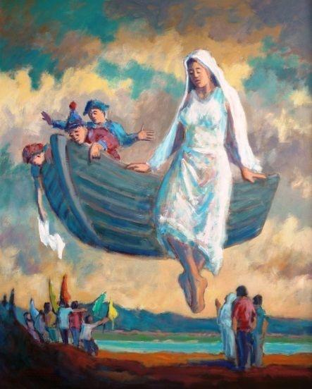 A Barca da Vida - Fernando Lúcio (PE) - Acrílica s/Tela - 100x080