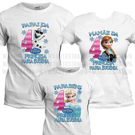 36ed15586 Camisetas Personalizadas Tema Frozen Kit Aniversário Camisa Infantil ...