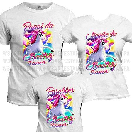 Camisetas personalizadas Tema Unicórnio Kit Festa Aniversário Blusa ... 0b5fa369a1f2d