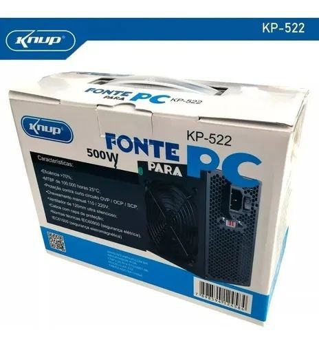 Fonte de alimentação para PC Knup KP-522 500W preta
