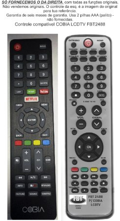 Controle Remoto Compatível COBIA LCDTV de 32 a 55 FBT2488