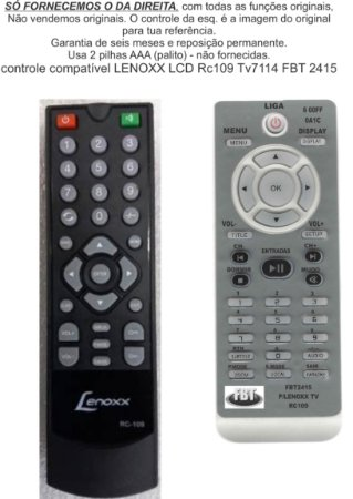 Controle Remoto Compatível Lenoxx LCD TV7114 RC109 FBT2415