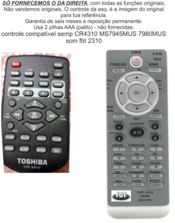 Controle Remoto Compatível Semp CR4310 MS7945 7980 8050 8080 FBT2310