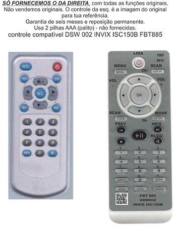 Controle Remoto Compatível DSW ISDB-T DSW002 ISC150B MICTV SBTATW01 FBT0885