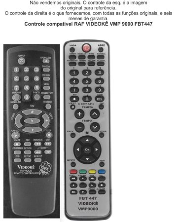 Controle Remoto Compatível Videokê RAF VMP9000 FBT447