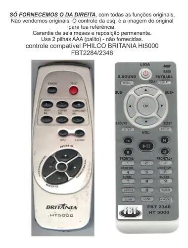 Controle Remoto Compatível Philco Britania Ht5000 FBT2284/2346