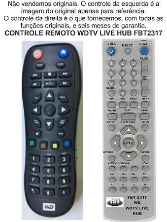 Controle Remoto Compatível Wd Western Dig HD Tv Live FBT2317