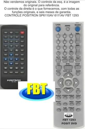 Controle Remoto Compatível DVD Positron SP6110av 6111av FBT1293