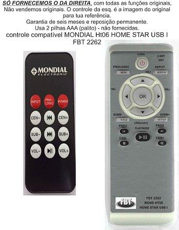 Controle Remoto Compatível Mondial Home Star 1 Usb Ht 06 FBT2262