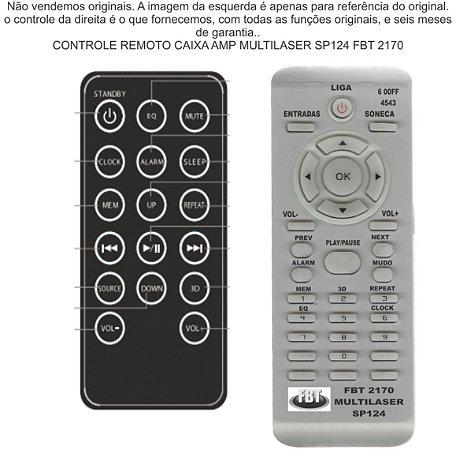 Controle Remoto Compatível com caixa amp Multilaser Sp 124 FBT2170