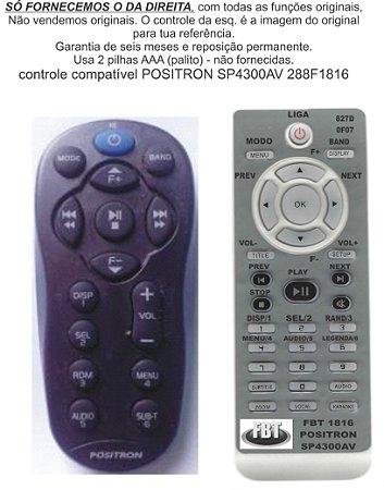 Controle Remoto Compatível - Positron Sp4300av 4330bt 6900nav 4500bt FBT1816