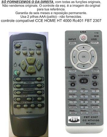 Controle Remoto Compatível Cce Home Ht4000 Rc 401 FBT2307