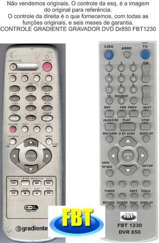 Controle Remoto Compatível Gravador Gradiente DVD DR850 FBT1230