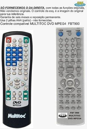 Controle Remoto Compatível DVD Multitoc DVD260 12  FBT900