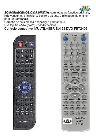 Controle Remoto Compatível - Multilaser Dvd Sp193 FBT2406