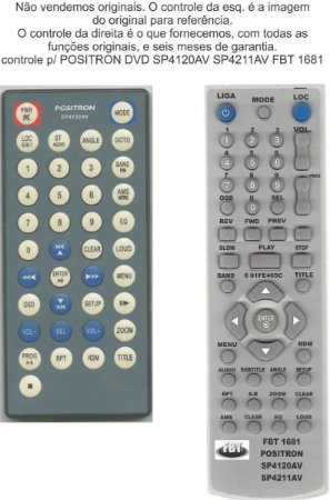 Controle Remoto Compatível - Positron DVD Sp4120AV Sp4211AV FBT1681