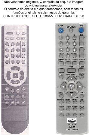 Controle Remoto Compatível - Tv Lcd Cyber Lcd2633am Lcd3233am FBT823