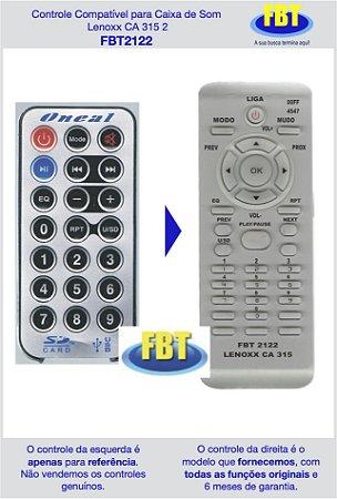 Controle Compatível para Caixa Amplificada Lenoxx CA315 FBT2122